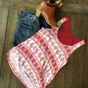 Rue21 super cute red & White with crochet top